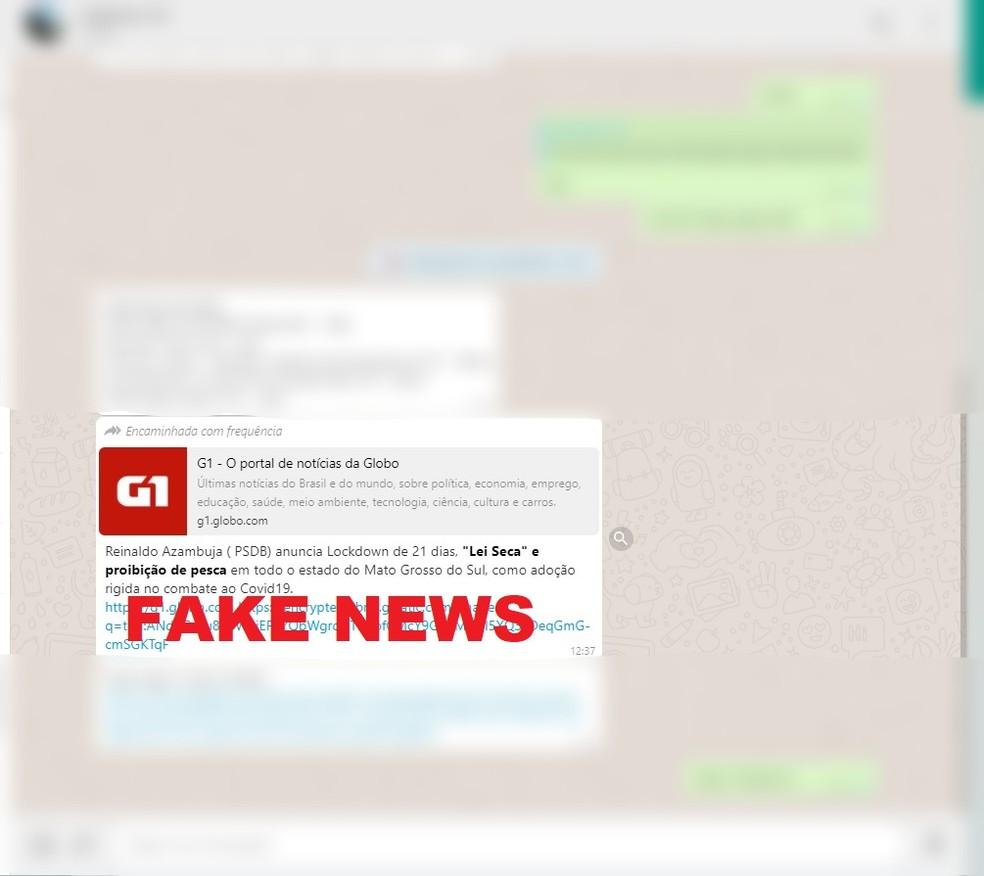 Mensagem falsa circulou em redes sociais em Mato Grosso do Sul — Foto: Redes Sociais/Divulgação