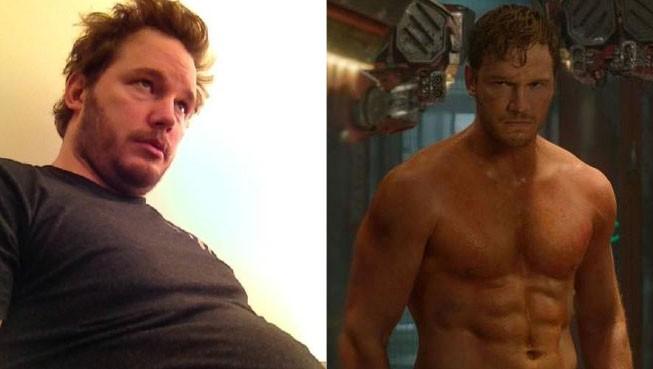 Chris Pratt em Outubro de 2012 e, ao lado, o ator no primeiro filme da franquia Guardiões da Galáxia (Foto: Twitter/Reprodução)