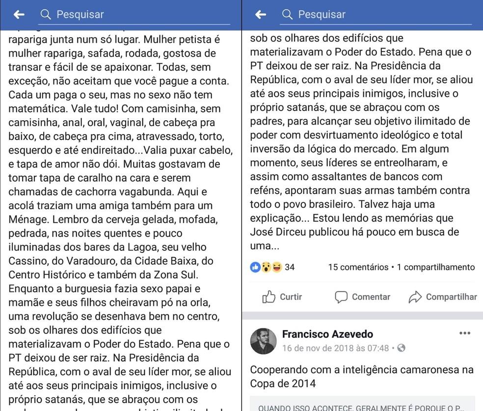 Na parte final da publicação, delegado da Paraíba lamenta que o 'PT deixou de ser raiz' — Foto: Reprodução/Facebook