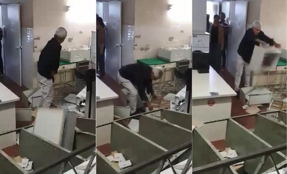 Imagens mostram médico fazendo o quebra-quebra no posto de saúde (Foto: VC no ESTV)