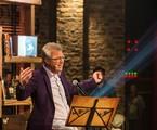Pedro Bial na gravação do Na moral | TV Globo