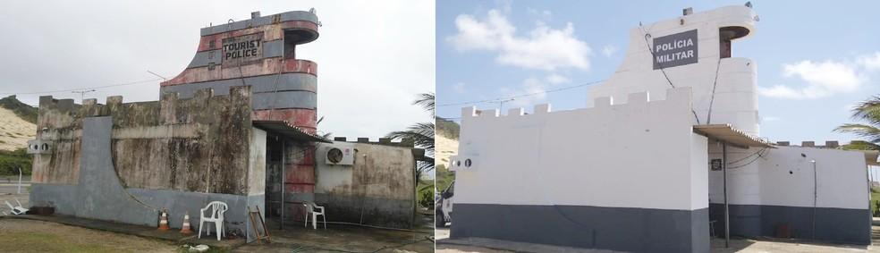 Imagens mostram o antes e o depois da reforma feita na sede da Companhia de Turismo da PM, na Via Costeira, em Natal — Foto: PMRN/Divulgação