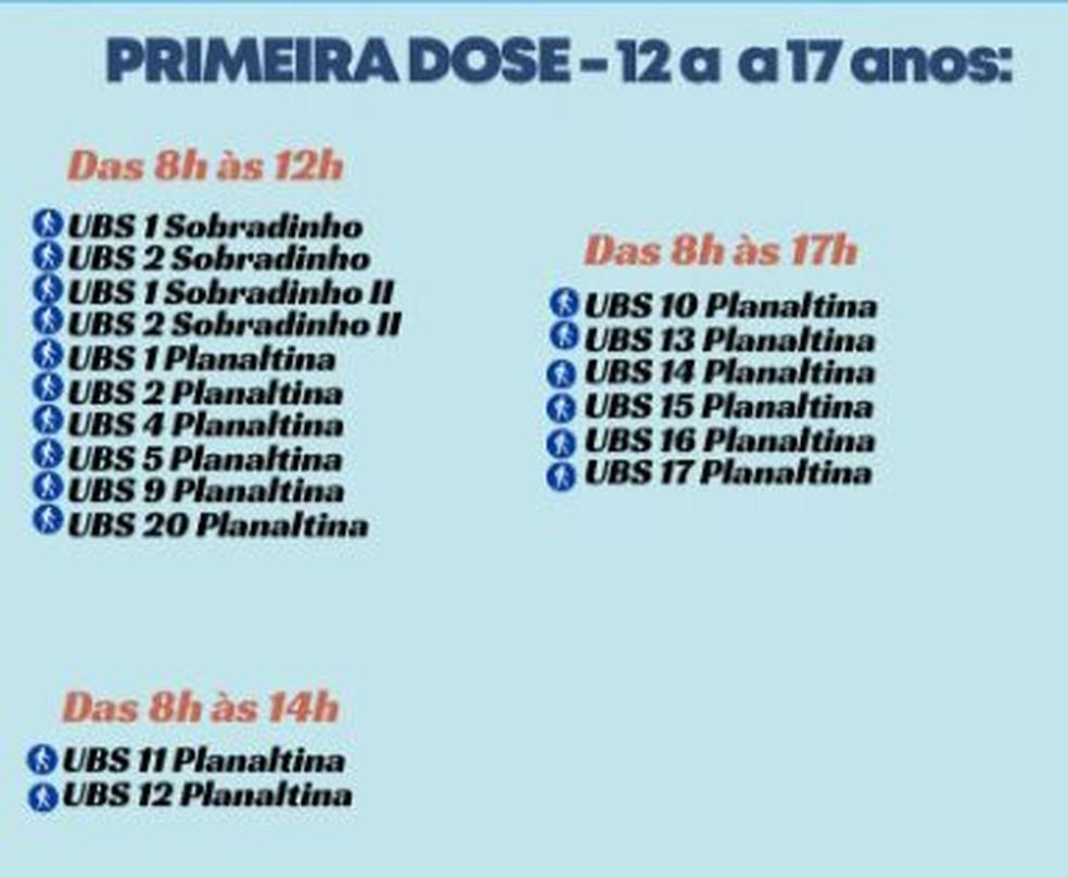 Postos de vacinação para adolescentes entre 12 e 17 anos nesta quarta-feira (13) — Foto: SES-DF/Divulgação
