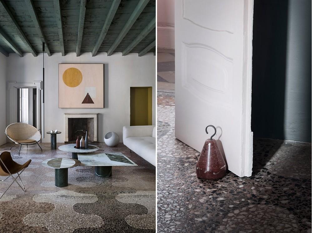 Projetado pelo estúdio Elissa Ossino para o chefe da marca italiana de pedra Salvatori, este apartamento conta com um piso de granilite lavado, repleto de tonalidades e texturas (Foto: Elissa Ossino/Reprodução)
