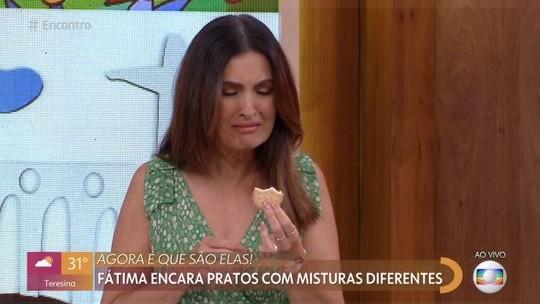 Fátima Bernardes faz caretas ao provar misturas inspiradas no polêmico feijão com queijo