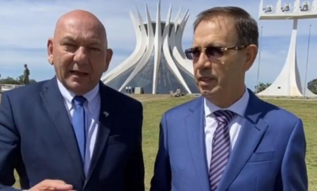 Os empresários Luciano Hang e Carlos Wizard em visita a Brasília