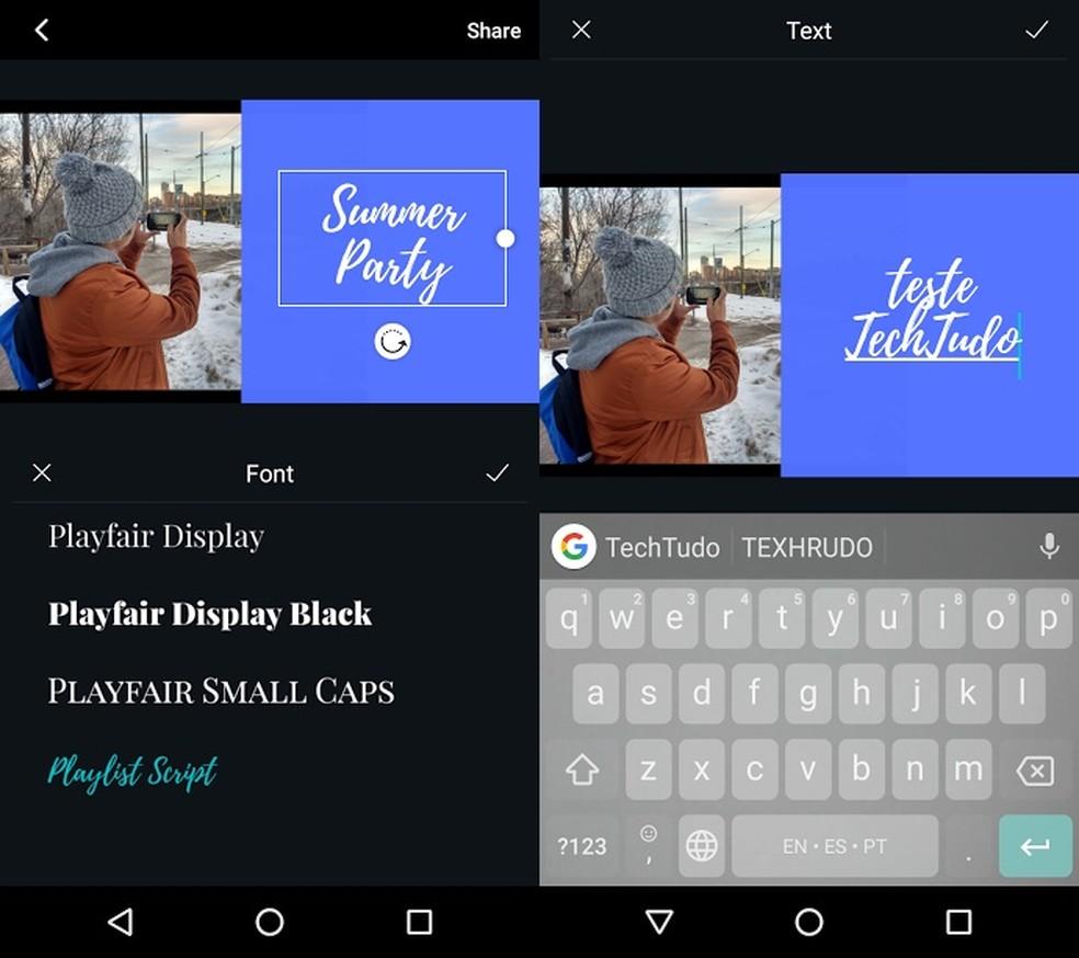 Faceți clic pe text pentru a schimba fontul și mesajul - Foto: Redare / Bruno Soares