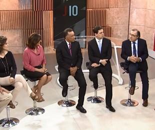 Heraldo Pereira e os comentaristas do 'Jornal das 10' | Reprodução