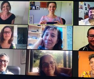 Marta Rangel (pesquisadora), Priscila Steinman (autora), Rodrigo Fonseca (jornalista), Laura Rissin, Isabel Muniz, Tarcísio Lara Puiati, Mário Vianna (colaboradores), Márcia Prates (autora) e Natália Balbino (colaboradora)   Arquivo pessoal