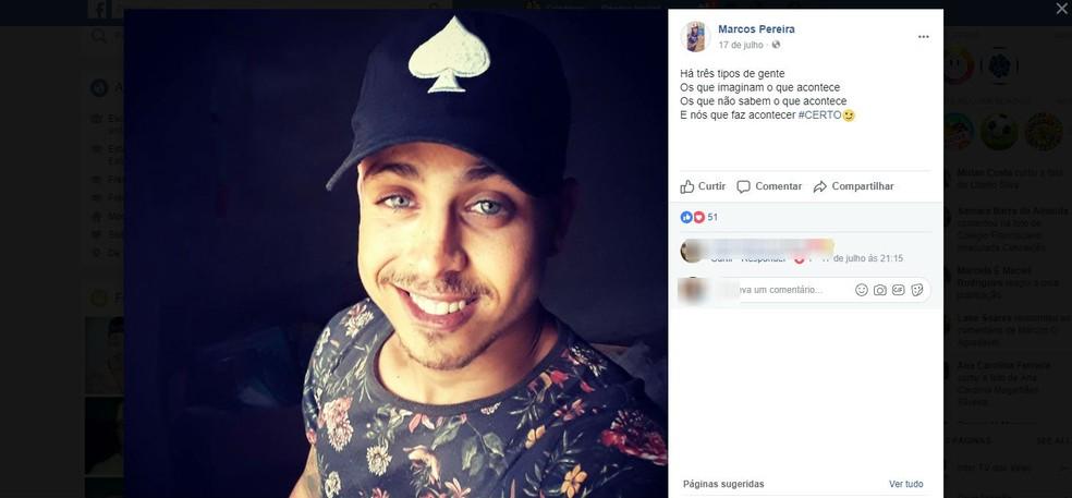 Lindo Marcos Pereira de Oliveira chegou a ser socorrido mas não resistiu aos ferimentos (Foto: Reprodução /  Facebook)