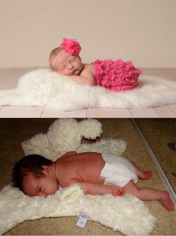 Nada ambicioso, o clique do bebê sobre um tapete felpudo não saiu exatamente como a inspiração (Foto: Pinterest)
