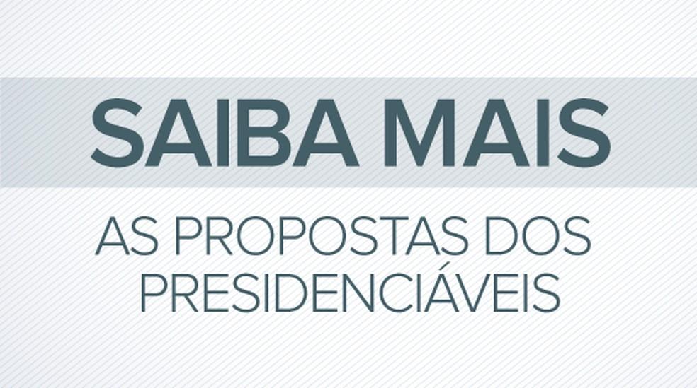 Selo saiba mais as propostas dos presidenciáveis — Foto: Editoria de Arte/G1