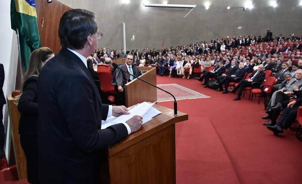 Jair Bolsonaro discursa durante cerimônia de diplomação no TSE — Foto: Rafael Carvalho, Governo de Transição