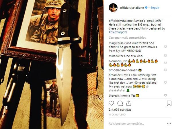 Stallone compartilha fotos e vídeos de bastidores de 'Rambo