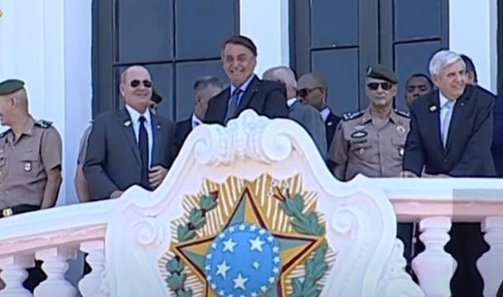 Presidente Jair Bolsonaro participa de cerimônia na Escola Preparatória de Cadetes do Exército, em Campinas — Foto: Reprodução/Youtube/TV Brasil
