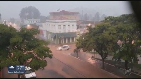 Chuva deixa ruas alagadas e interrompe fornecimento de energia em Lambari