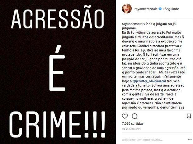 Rayane Morais defende Jeniffer Oliveira em acusação de agressão contra Douglas Sampaio (Foto: Reprodução)