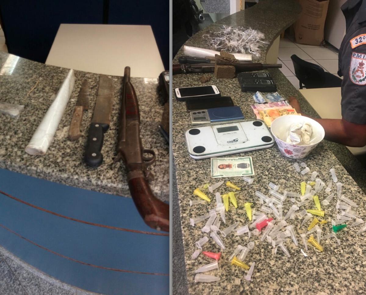 Suspeitos são detidos com drogas e armas em Conceição de Macabu, no RJ