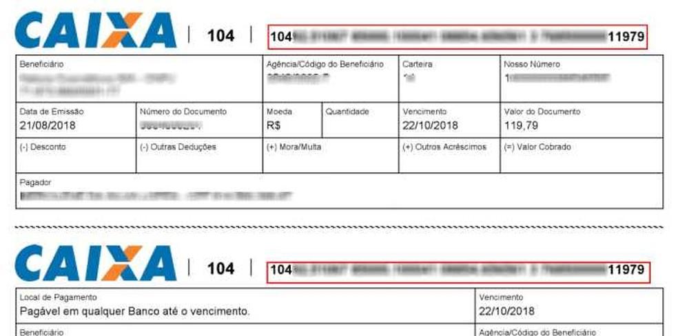 Para identificar um boleto verdadeiro, é importante se atentar aos números do código de barra — Foto: Reprodução/Carolina Lais