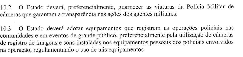 Trecho de TAC assinado pela PM e pelo Ministério Público do Rio, em 2015 — Foto: Reprodução/Arquivo Pessoal