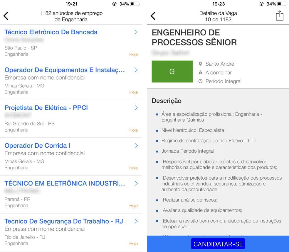InfoJobs encontra vagas de emprego de acordo com a área profissional desejada — Foto: Reprodução/Rodrigo Fernandes
