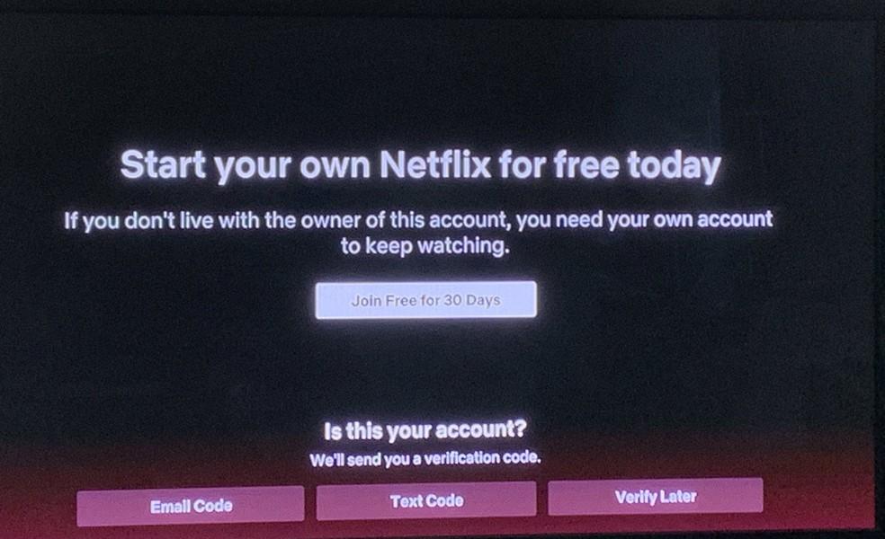 Netflix solicita confirmação da conta com código enviado por SMS ou e-mail — Foto: Reprodução/Twitter