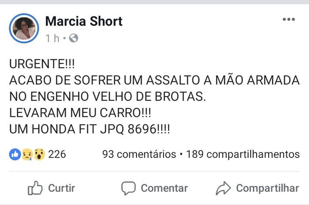 Marcia Short teve carro roubado em Salvador — Foto: Reprodução/Facebook