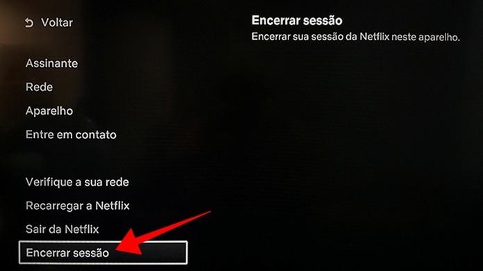 Faça log-off no app da Netflix para solucionar o problema (Foto: Reprodução/Paulo Alves)