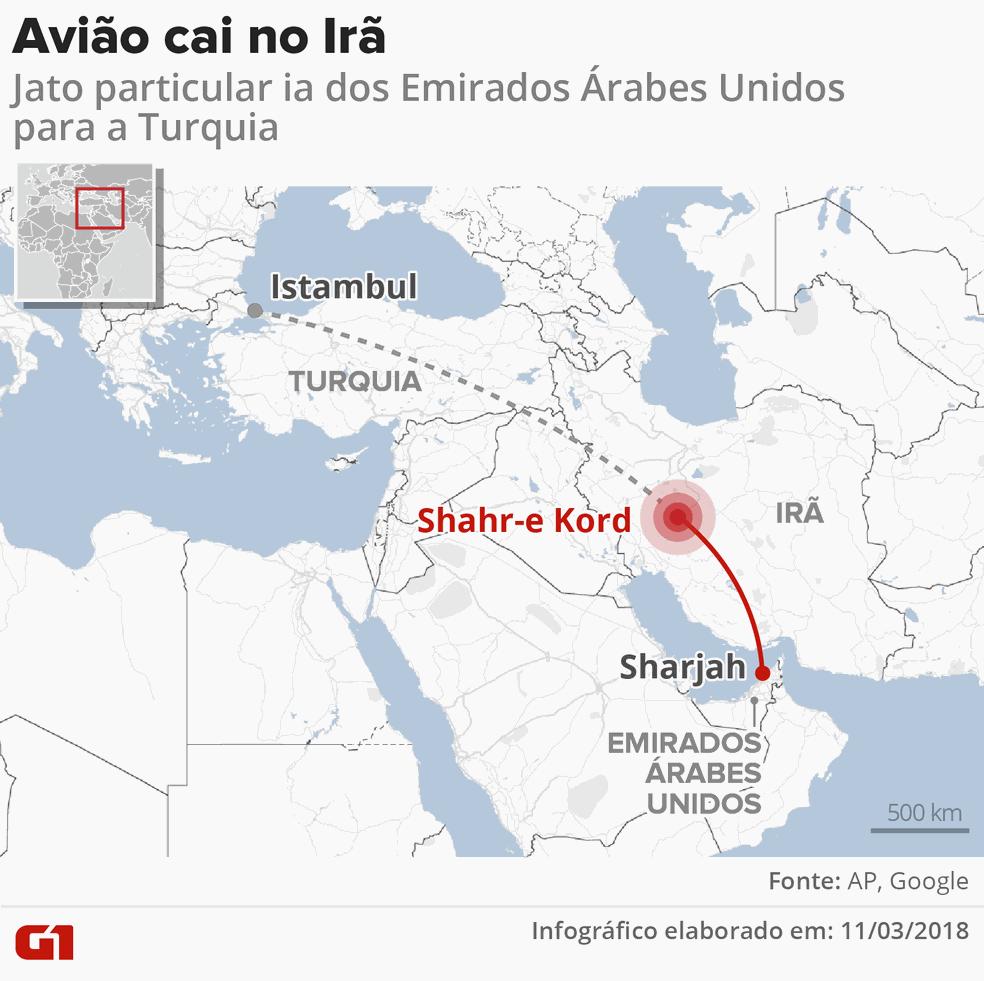 Avião cai no Irã (Foto: Igor Estrella/G1)