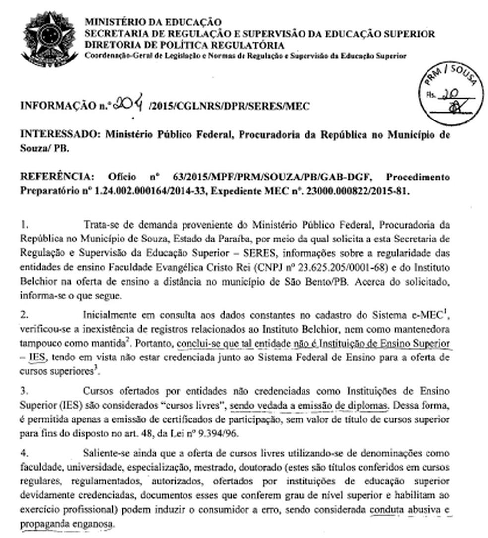 Nota técnica emitida pelo MEC ao Ministério Público da Paraíba em 2015 sobre as duas instituições de ensino denunciadas — Foto: Reprodução/Ministério Público da Paraíba
