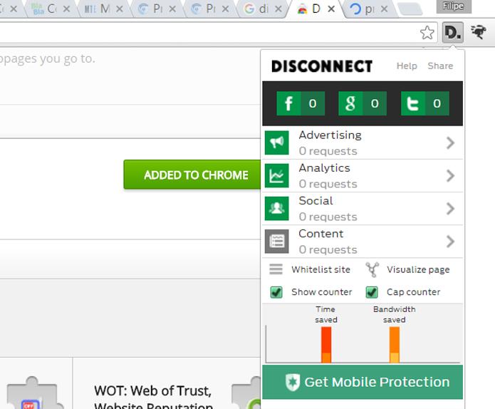 Além de proteger a privacidade, Diconnect permite bloquear sites que deixam a navegação mais lenta (Foto: Reprodução/Filipe Garrett)