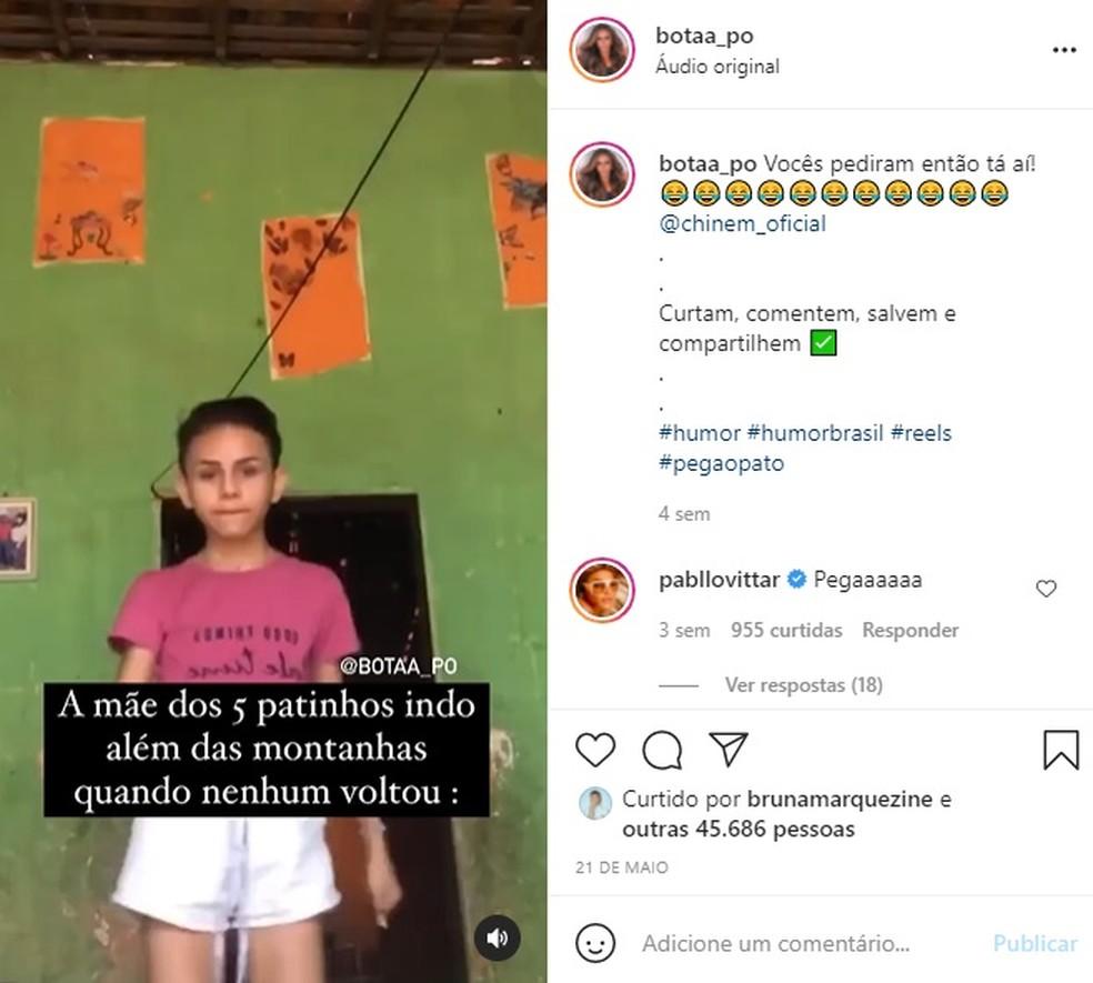 Vídeos de 'Bota Pó' chamaram atenção de famosos como Pabllo Vittar e Bruna Marquezine. — Foto: Reprodução/Redes sociais