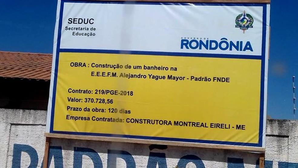 -  Segundo Seduc, valor, na verdade, é para construção de 32 banheiros e dois vestuários na escola.  Foto: Reprodução/Facebook.