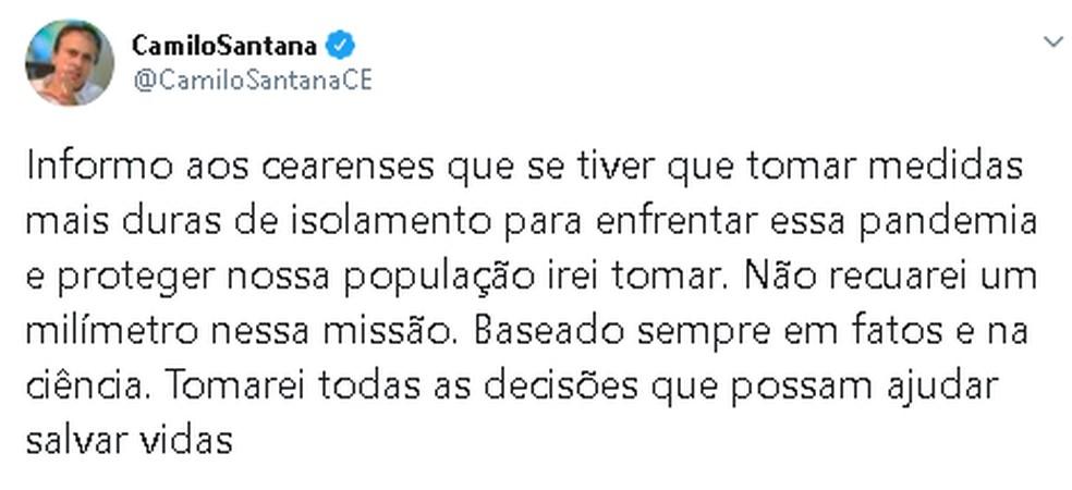 Declaração de Camilo Santana sobre a importância do isolamento social. — Foto: Divulgação/Arquivo Pessoal
