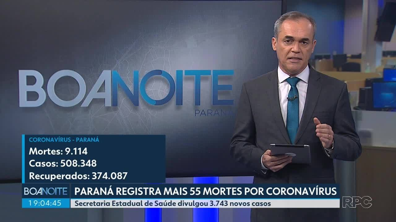 Paraná registra mais 55 mortes por coronavírus
