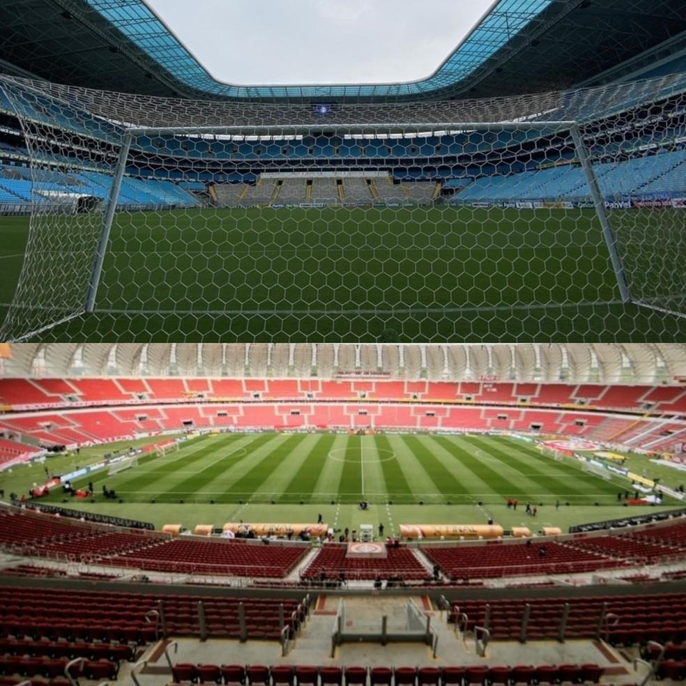 Arena, Beira-Rio, Grêmio, Inter — Foto: Montagem sobre fotos/ge