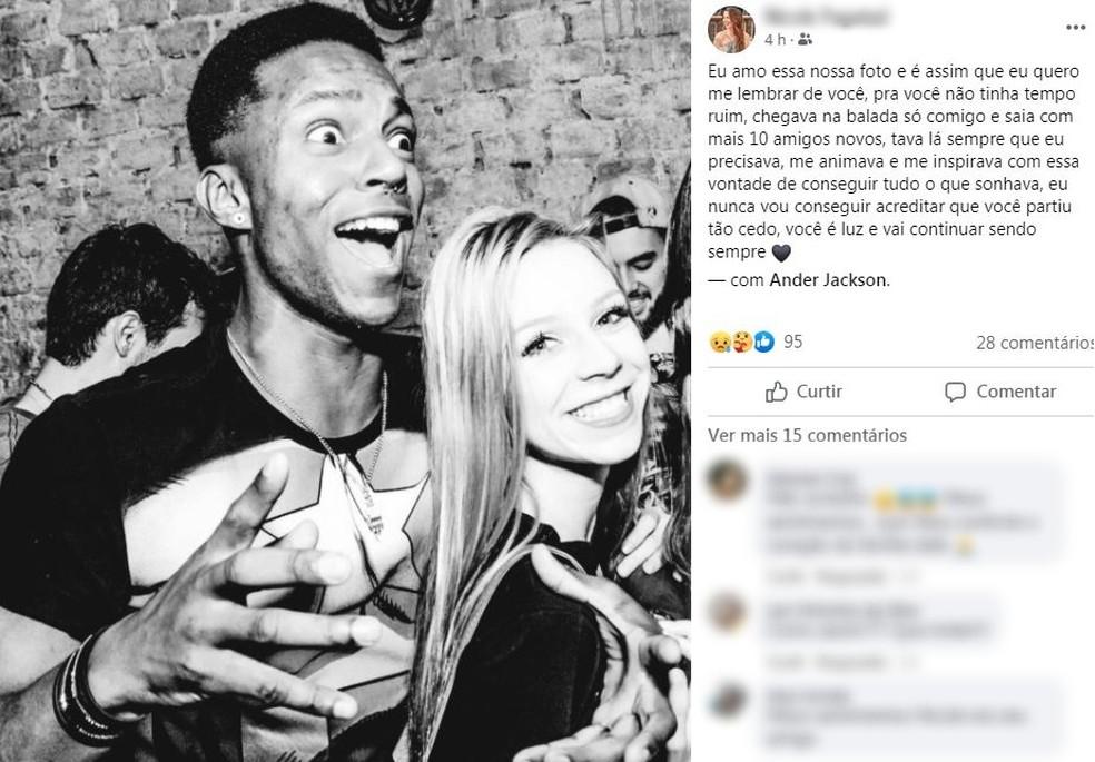 Amiga de Anderson publicou homenagem nas redes sociais — Foto: Reprodução/Facebook