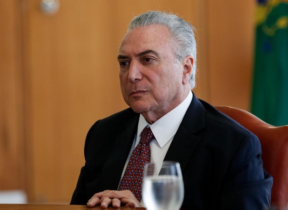 Imagem mostra o presidente Michel Temer durante reunião nesta quinta (24), no Palácio do Planalto (Foto: Marcos Corrêa/PR)