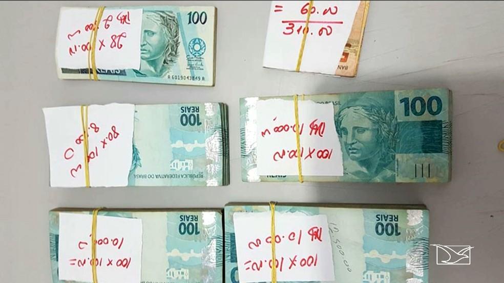 Dinheiro ficou retido com a polícia para investigações (Foto: Reprodução/TV Mirante)