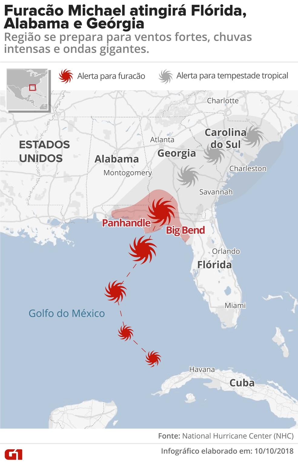 Furacão Michael atingirá Flórida, Geórgia e Alabama — Foto: Juliane Monteiro/G1