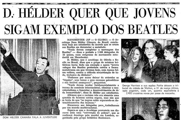O GLOBO reportou discurso de Dom Hélder em Manchester na edição de 11 de abril de 1969