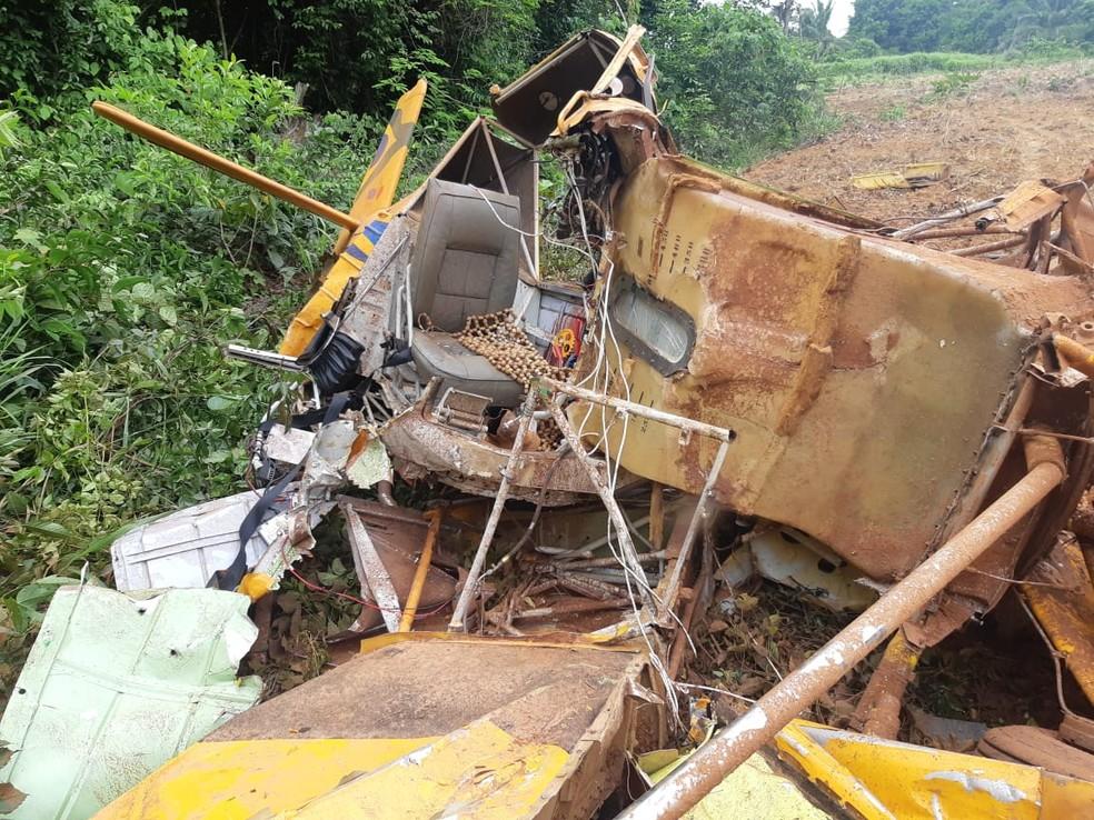 Avião caiu durante pulverização de lavoura em Cláudia  — Foto: Reprodução