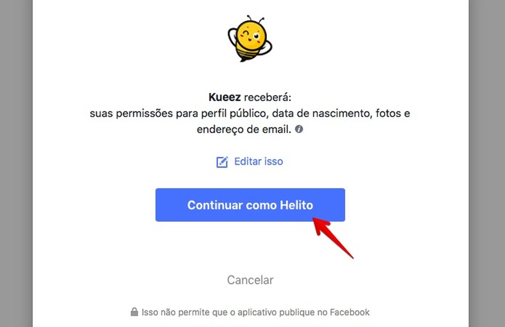 Permita que o site acesse os seus dados do Facebook (Foto: Reprodução/Helito Bijora)