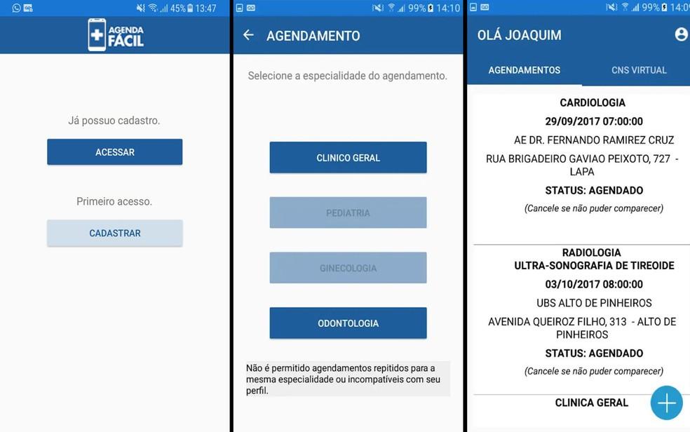 Telas do aplicativo 'Agenda Fácil', que permite agendamento de consultas médicas na cidade de São Paulo (Foto: Prefeitura de São Paulo/Reprodução)