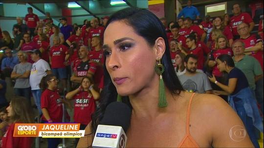 Sesi vence Taubaté pela Superliga e Jaque, mulher de Murilo, desmaia