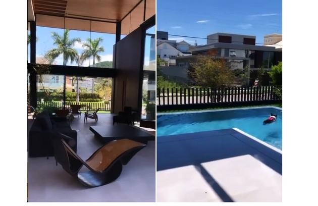 Mansão da jornalista, que fica localizada num condomínio de luxo, tem jardim de inverno e piscina  (Foto: Reprodução)