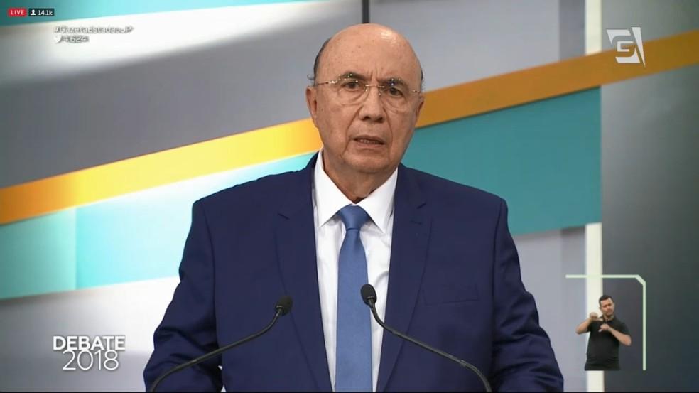 Henrique Meirelles (MDB) no debate da TV Gazeta (Foto: Reprodução/TV Gazeta)