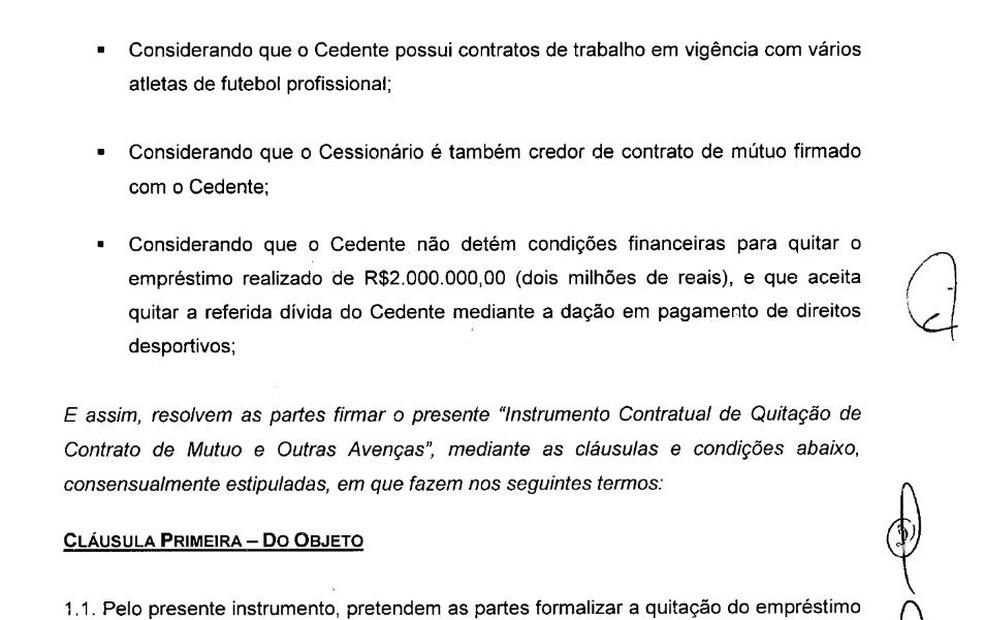 Contrato de mútuo mostra que Cruzeiro cedeu direitos de jogadores a Cristiano Richard — Foto: Reprodução