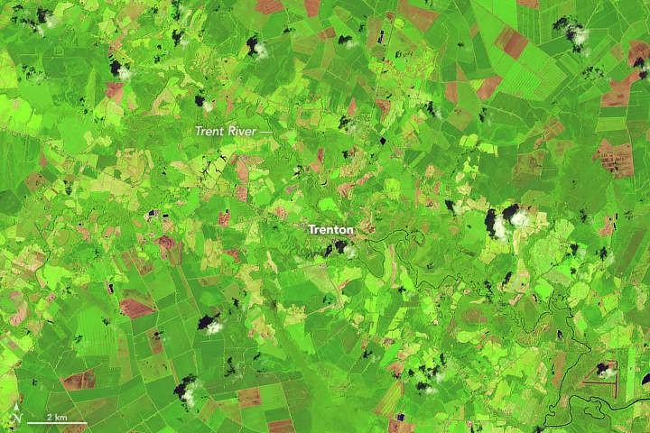 Rio Trent e cidade de Trenton em 14 de julho (Foto: NASA/USGS)