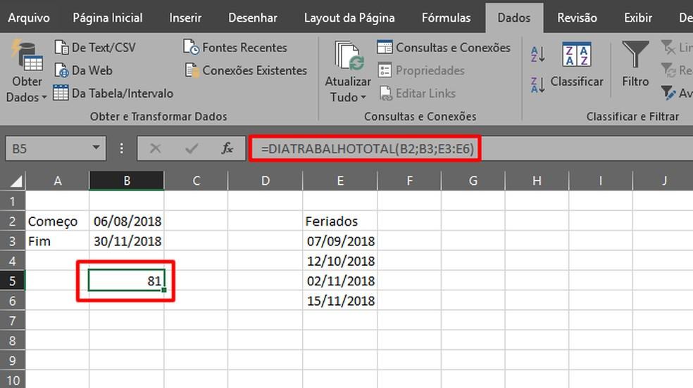 A formula apresentará imediatamente os resultados  (Foto: Reprodução/Daniel Ribeiro)